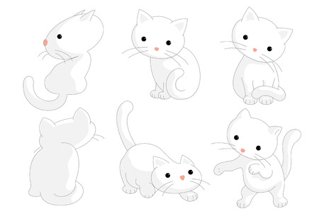 White cats in different moods and moves drawn as vector illustration.
