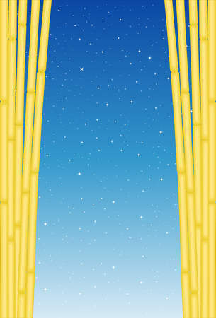 Bamboos With Stars Background. Vector Illustration of Exotic Bamboos with Blue Background for using as Placard or any Background