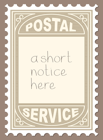 perforated: Postal Stamp Shape Blank Placard. Vector Illustration of Postal Stamp Shape Blank Placard.