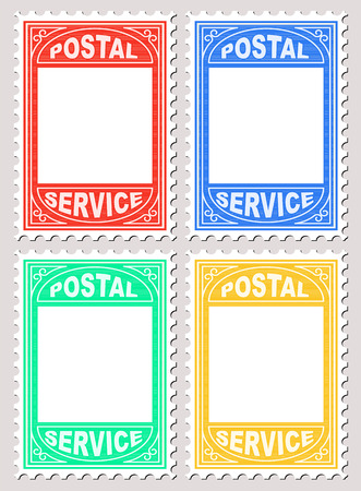 perforated: Vector Illustration of Postal Stamp Shape Blank Placard for writing notices upon.