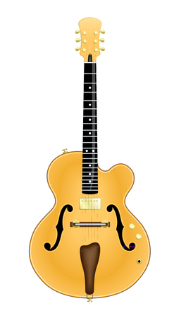 hollow body: Custom Made Jazz Guitar. Vector Illustration of a Custom Made Hollow Body Jazz Guitar. No name, no Image trace. Isolated on White. All parts are layered separately. Global Colors of woods and Metals are gruped in separate folders.