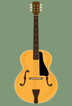 hollow body: No Brand Custom Made Jazz Guitar. Vector Illustration of a Custom Made Hollow Body Jazz Guitar. No name, no Image trace. All parts are layered separately. Global Colors are used.