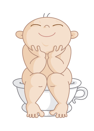 Potty Boy. Vector Illustration of a Happy Little Boy Sitting on his Potty. This figure can be used as mens restroom sign. Illustration