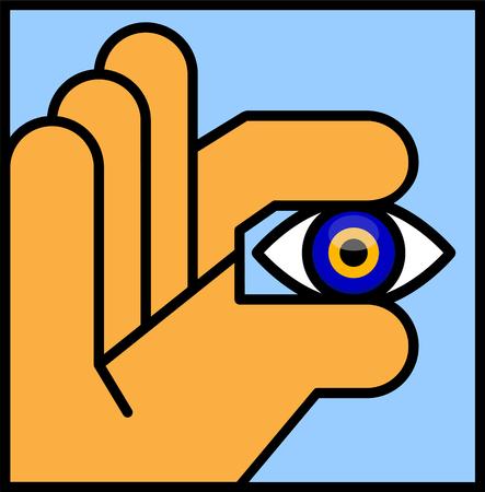Evil Eye Bead. Vector illustration of an Abstract Human Hand Holding an Evil Eye Bead. Illustrator eight, global colors, easily editable.