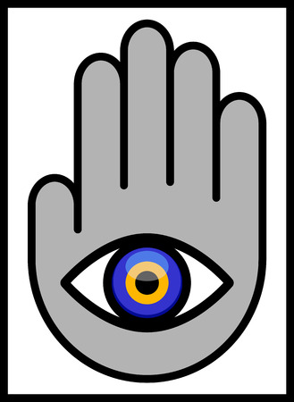 Evil Eye in Hand. Vector illustration of an Abstract Human Hand to which attached an Evil Eye. Illustrator eight, global colors, easily editable.