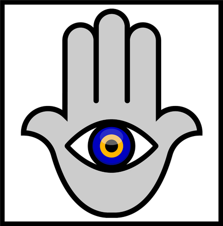 Evil Eye in Hamsa Hand. Vector illustration of an Abstract Human Hand to which attached an Evil Eye. Illustrator eight, global colors, easily editable.