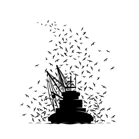 Vissersboot en de Zeemeeuwen. Vissersboot Keert terug naar de haven en neemt de meeuwen mee. Stock Illustratie