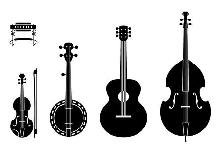 문자열을 사용 하여 컨트리 음악 악기 실루엣입니다. 일반, 전통적인 컨트리 음악 밴드의 악기 실루엣의 벡터 일러스트 레이 션.