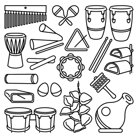 Latin Percussion Instruments Icon Set on white background Illustration