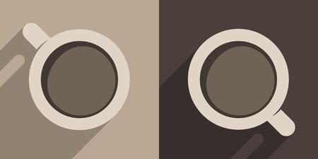 Coffee Cups. Vector Illustration Of Two Italian Espresso Coffee Cups. Ilustração