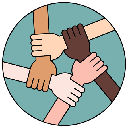 racism: Vector Illustration Of Five Human Hands Holding Eachother For Solidarity And Unity