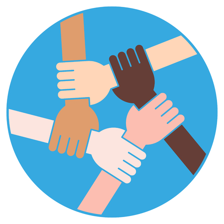 Vector Illustration Of Five Human Hands Holding Eachother For Solidarity And Unity
