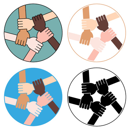 racism: Vector Illustration Of Five Human Hands Holding Eachother For Solidarity And Unity. Four Variations.
