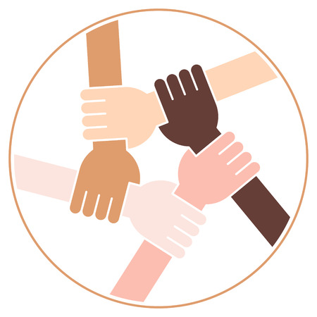 racismo: Ilustración Vectorial De Cinco Manos Humanos Sosteniendo Eachother Para La Solidaridad Y La Unidad