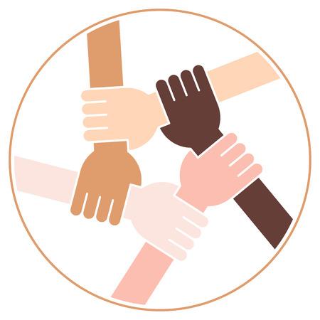Vektor-Illustration von fünf menschlichen Händen halten sich gegenseitig für Solidarität und Einheit Standard-Bild - 78505054