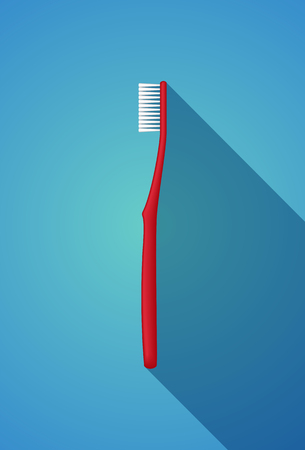 Red Toothbrush. Vector Illustration of a Red Toothbrush