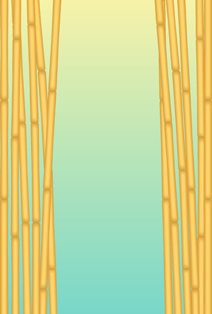 Bamboos With Blue Background. Vector Illustration of Exotic Bamboos with Blue Background for using as Placard or any Background