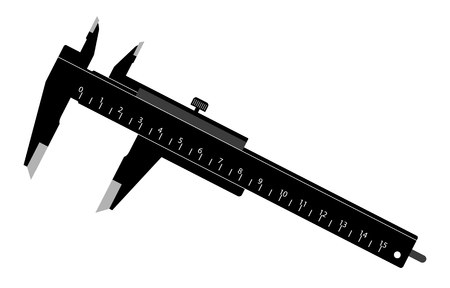 sliding caliper: Black Caliper. Vector Illustration of a Simple Black Caliper Illustration