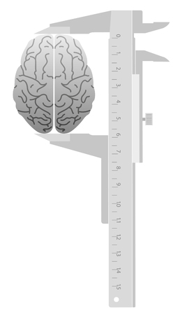 sliding caliper: IQ Test. Caliper measures the Brain