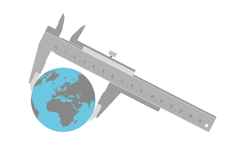 Caliper measures the World. Vector Illustration Of A Calipers Measuring The Globe. Иллюстрация
