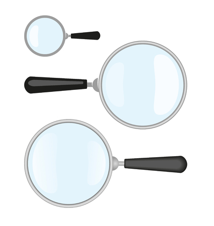 Magnifiers. Vector Illustration Of Magnifier and It's Flat Design and Simple Versions Иллюстрация