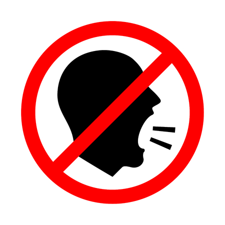 Don't Shout. Vector Illustration Of A  Keep Quiet and Shouting Is Not Allowed Sign. 矢量图像