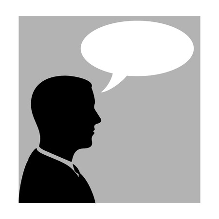 Man Silhouette With Speech Bubble. Profile View Vector Illustration.