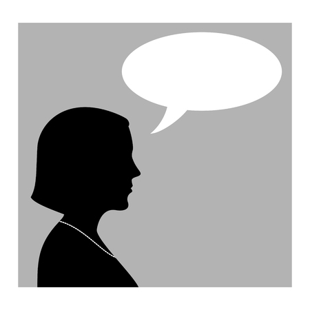 Woman Silhouette With Speech Bubble. Profile View Vector Illustration. Иллюстрация