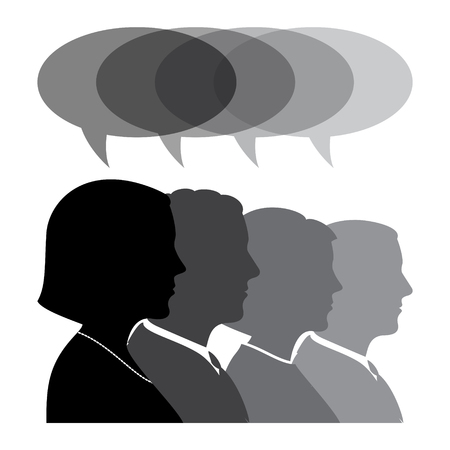 Business People Silhouettes With Speech Bubble. Profile View Vector Illustration. Иллюстрация