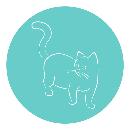 Line Art Vector Illustration of A Cat.
