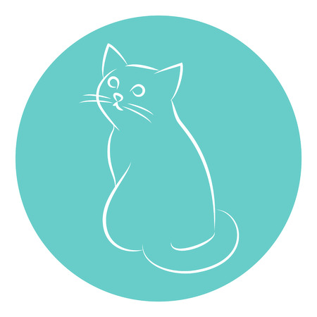 Line Art Vector Illustration of A Sitting House Cat. Drawing.