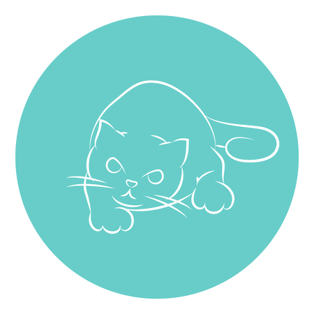 Line Art Vector Illustration of A House Cat Preparing Itself For An Attack