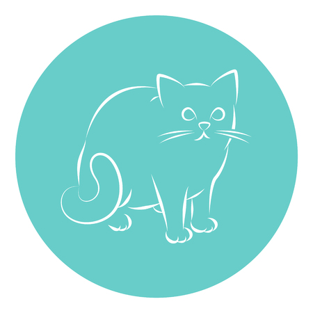 Line Art Vector Illustration of A House Cat Sitting Down Иллюстрация