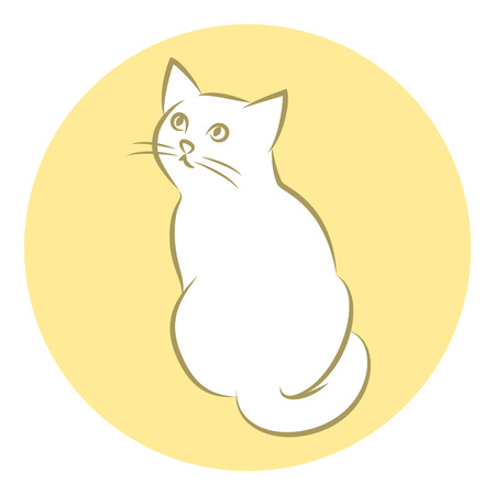 Line Art Vector Illustration of A White House Cat. Drawing. Rear View. Иллюстрация