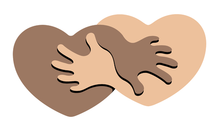figuring: Anti Racism. An Abstract Symbol for Anti Racism Figuring Two Hearts Holding Each Other. Illustration