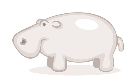 Cute Hippo Line Art.