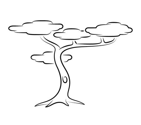 Tropical Tree. Line Art Vector Illustration Of A Tropical Tree. Иллюстрация