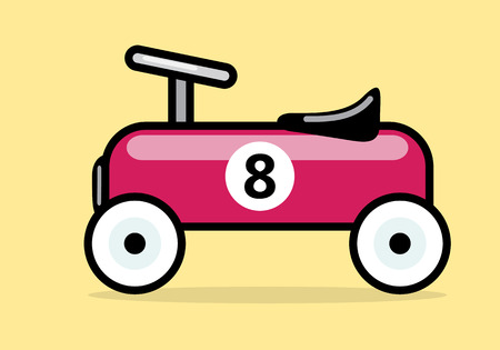 Race Car. Vector Illustration Of A Red Vintage Racing Car Toy.