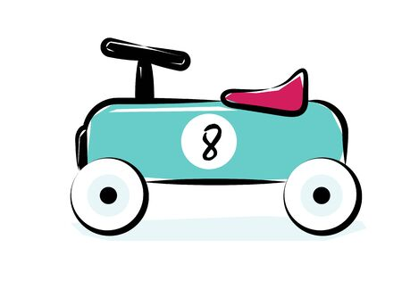 Race Car. Line Art Vector Illustration Of A Blue Vintage Racing Car Toy.