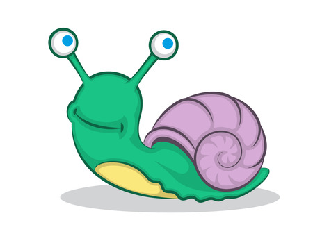 Snail Cartoon Color Drawing. Vector Illustration Of A Cute Snail.