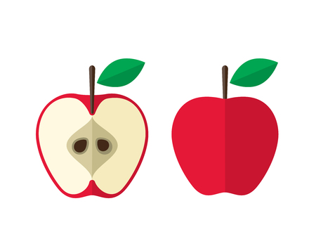 Red apple and a half flat design vector illustration on white background.