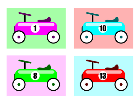 Race Cars. Vector Illustration Of A Vintage Racing Car Toys In Different Colors. Иллюстрация