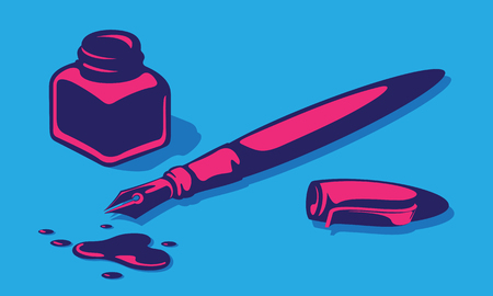 Stylish Vector Illustration Of Fountain Pen, Inkwell, Cover And Inkblots.