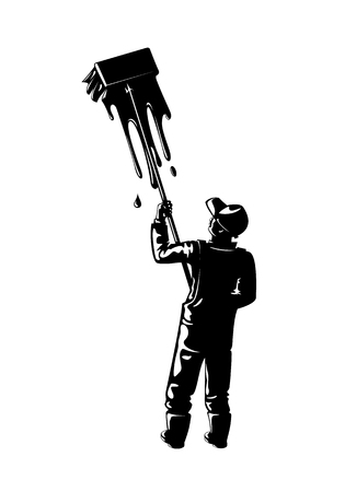 Illustration of a worker silhouette painting  a wall. Иллюстрация