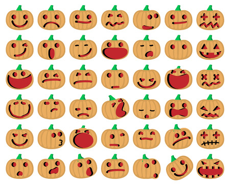 Halloween Pumpkins. Vector Illustration of A Set Of Halloween Pumpkins Emoticons Set.