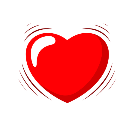 Heart Beating. Vector Illustration Of A Cartoon Heart With Shaking Effect