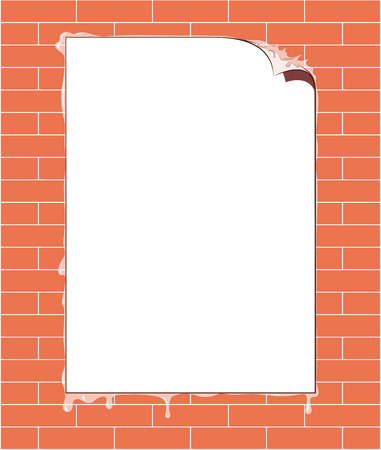 Poster on brick wall as blank text space. Vector illustration of a poster glued on a brick wall as blank text space. Иллюстрация