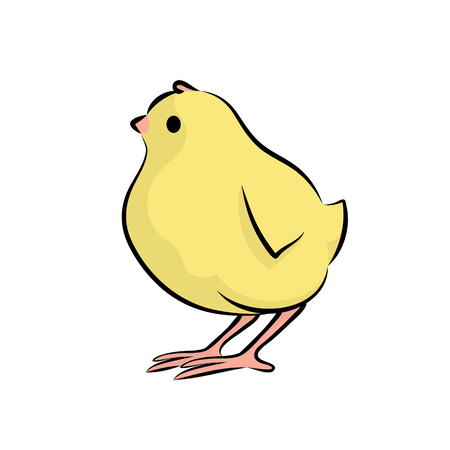 Cute Little Chick. Vector Illustration Of A Baby Chicken. Side View. Çizim