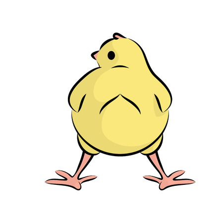 Cute Little Chick. Vector Illustration Of A Baby Chicken. Rear View.