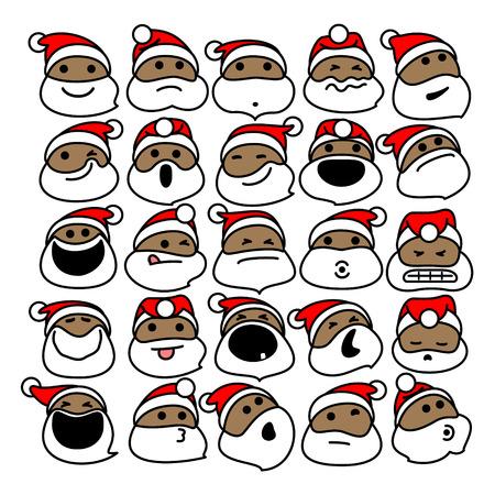 ブラックサンタクロースのクリスマスの絵文字。クリスマスのためのアフリカ系アメリカ人サンタクロースの絵文字のベクトルイラスト  イラスト・ベクター素材